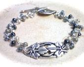 I V Y  ~  Antiqued Silver Plated Czech Beaded Bracelet