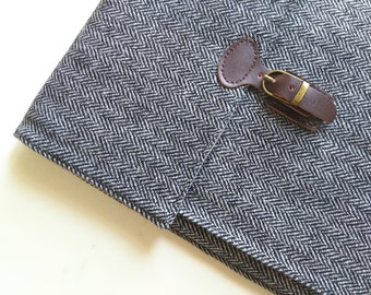 "iPad mini Case, made to order for 7-8""  Tablet. Padded/Wool Herringbone/Sleeve."