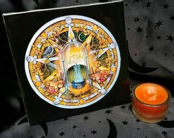 "SAMHAIN/ HALLOWEEN 6"" Black Altar Tile with Handpoured Samhain Scented Candle"