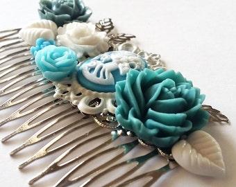 Blue Grey Cloudy Skeletina Cluster Hair Comb - Fascinator Kitschy Cool Offbeat Wedding Bride Skull