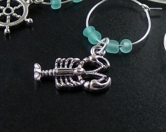 Wine Charms 6 Silver BEACH Ocean Sea Blue Beads Stemware Glass Gifts Wedding Favors (1029win20s1)