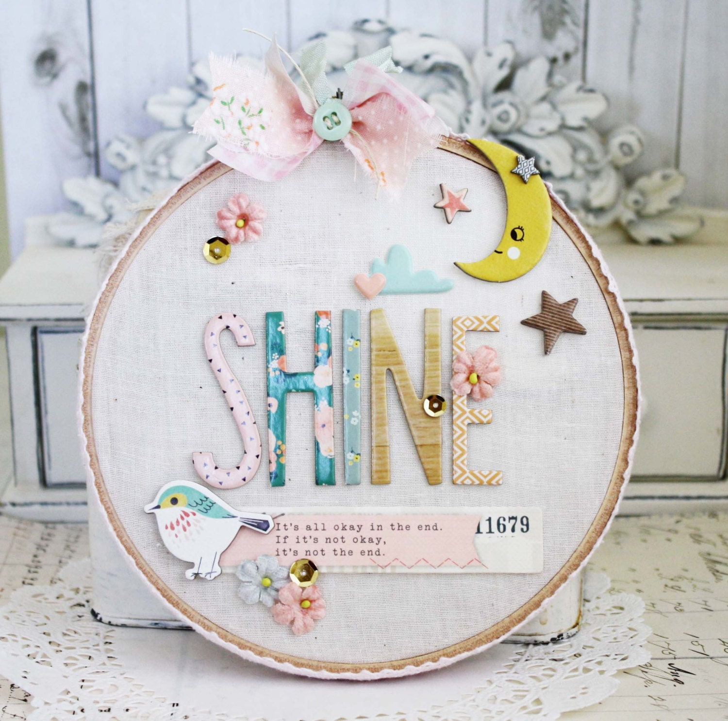 Shine altered embroidery hoop by lilybeanpaperie on etsy