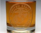 Engraved Military OTR Glass.