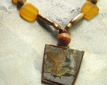Carmel necklace upcycled artist palette in autumn colors