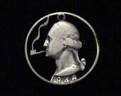 US - George Washington Puffing a Pipefull - cut coin pendant - SILVER - 1946