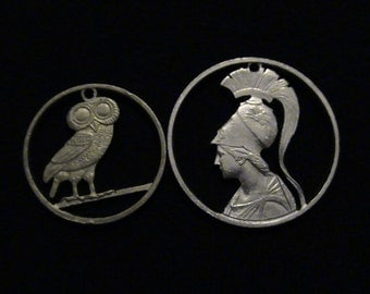 Why Break Up A Goddess and her Owl? set of TWO - GREEK - cut coin pendants  -  Athena, Goddess of War and Wisdom and Athenian Owl