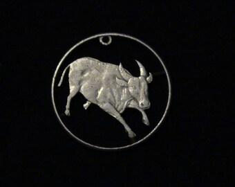 Philippines - cut coin pendant - BULL - 1985