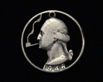 US - George Washington Puffing a Pipefull - cut coin pendant - SILVER - 1946