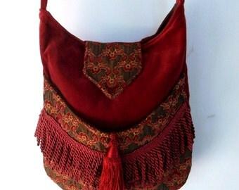 Brick Red and Burgundy Tapestry Gypsy Bag Rose Fringe Bag Bohemian  large bag renaissance bag messenger bag medieval bag