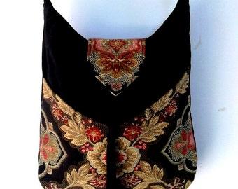 Floral Tapestry Gypsy Bag Messenger Bag Bohemian Black Velvet large bag renaissance bag  medieval bag