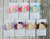 Puppy Felt Hair Clips - You Pick 1 Clip - Hot Pink, Light Pink, Aqua, Lavender, Purple, Khaki, Chocolate Puppy Dog Clippies - Felt Hair Bows