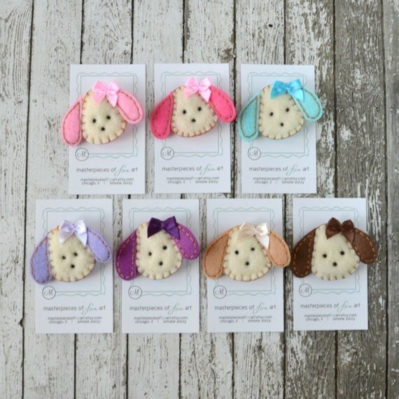 Puppy Felt Hair Clips - You Pick 1 Clip - Hot Pink, Light Pink, Aqua, Lavender, Purple, Khaki, Chocolate Puppy Dog Clippies - Felt Hair Bows