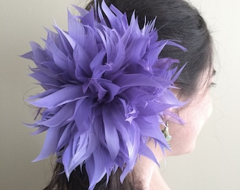 FLEUR de PLUME,  Vogue Goose feather fascinator,  Lavender Purple / FDP - 22