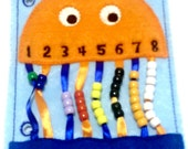 Orange Jellyfish bead counting quiet book page educational game busy bags quiet book #18