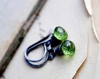Peridot Earrings, Drop Earrings, August Birthstone, Peridot Jewelry, Sterling Silver, Dangle Earrings, Gemstone Earrings, Lime Green