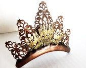 Tiara filigree metal for the perfect steampunk or neo Victorian bride brass and bronze color from evil Queen to Edwardian Ball to tea party