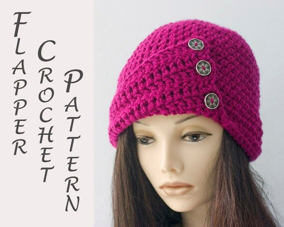 Crochet Cloche Hat Brim Pattern : 1920s Flapper Hat Crochet Pattern Crochet Cloche Hat