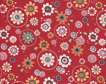 ADORNit Long Live Vintage Groove Flowers in Red - Half Yard