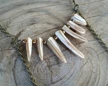 spiky shell and freshwater pearl body chain // nickel free jewelry // body chain jewelry // unique handmade jewelry // HEY113