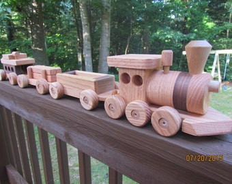 Train Set 4 car Wooden Handmade toy Red Oak and  Mahogany Heirloom Quality Beautifully hand  finished