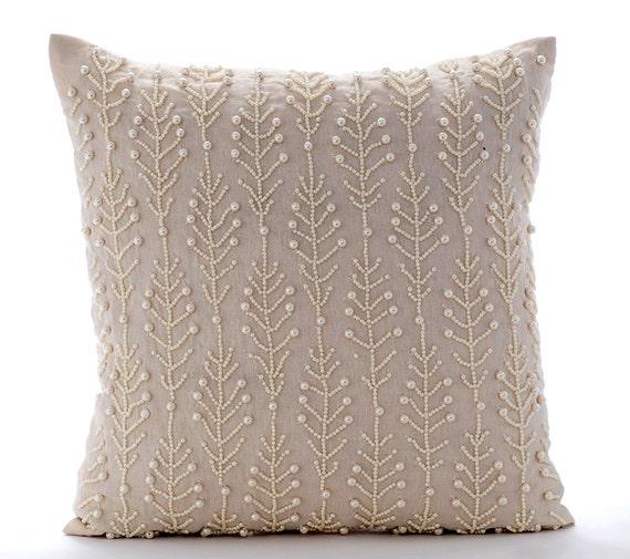 Beige Decorative Throw Pillows : Beige Decorative Pillow Cover 16x16 Cotton Linen