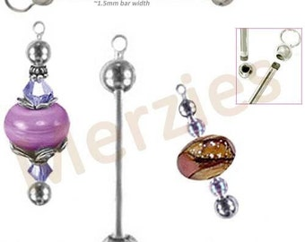 """MERZIEs 1-1/2"""" interchangeable silver ADD A BEAD CHANGEABLE removable ends holder - Combined Shipping"""