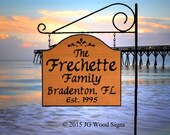 Family Name  Location Sign - Custom Carved Yard Sign - includes Round Garden  Holder