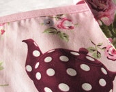 Bunting Banner tea pots fabric floral cottage chic style roses baby pink bias binding, for house, garden, party and festivities