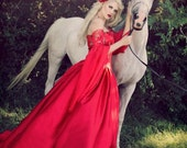 Miranda Medieval Dragon Brocade Red Gothic Corset Gown Custom