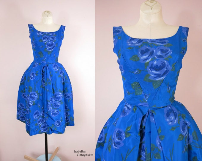 1960s Blue Roses Satin Party Dress Size XS