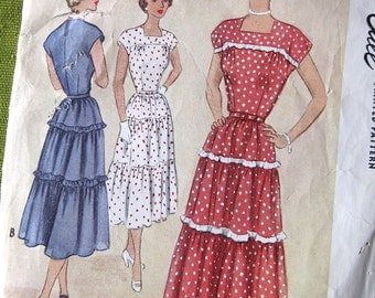 1950 Vintage McCall Sewing-  Pattern7996 - LOVELY Day or Evening Dress with Tiers - Size 12 Bust 30