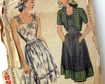 1940s Vintage Sewing Pattern - Misses Sundress - Simplicity 1033 / Size 14 Bust 32