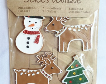 Jolee's Boutique, Christmas, Scrapbook Embellishments, Dimensional Stickers, Cards, Tags, Crafting Supply, Snowman, Reindeer, Christmas Tree