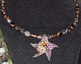 Starfish Necklace Mermaids Treasure Chest Lampwork Glass Sea Star Galaxy Beaded