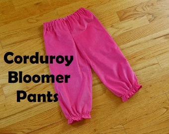 Girls Corduroy Bloomer Pants Pantaloons for baby toddler girl in YOUR CHOICE of solids - 6 months to size 8 - a rainbow of colors available
