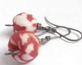 Red And White Earrings, African Recycled Glass Earrings, Sterling Silver Earrings, Rustic Earrings, Tribal Earrings, Metalwork Earrings