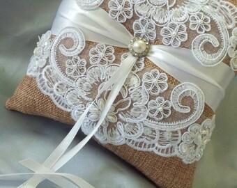 Burlap White Wedding Pillow Elegant White Beaded Alencon Bridal Lace Pearl and Rhinestone Wedding Ring Bearer Pillow White Lace Ring Pillow