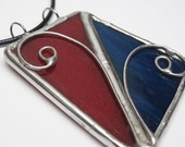 Firecracker - Stained Glass Pendant with Black Cord