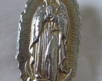 Shabby Mother Mary Clip Brooch Vintage Catholic Christian