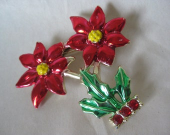Poinsettia Red Green Brooch Rhinestone Vintage Pin