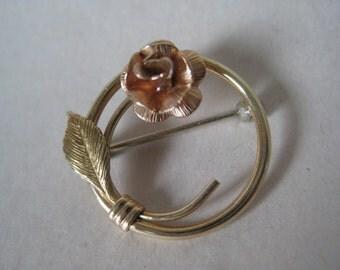 Rose Flower Gold Brooch Vintage Pin
