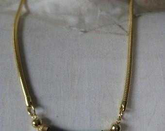 Green Gold Modern Necklace Vintage Plastic