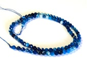 """Sky Blue Line Agate Faceted 4mm Gemstone Beads,  Round, 16"""" Strand, New, Jewelry Supplies"""