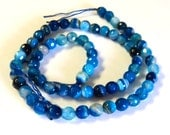 """Sky Blue Line Agate Faceted 6mm Gemstone Beads,  Round, 16"""" Strand, New, Jewelry Supplies"""