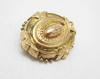 Antique Victorian Locket Brooch Memorial Hair Mourning Jewelry Etruscan Revival 10K Gold P6772