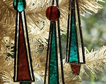 Christmas Tree, Glass Ornaments, Frosted Icicles, Teal and Purple, Set of Three