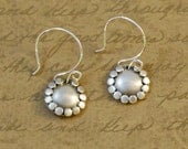 """Sterling silver, 1/2"""" disk, earrings, smooth, dots, rustic, oxidized, small, simple, textured, round, brushed, everyday, bytwilight, dainty"""