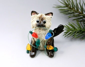 Himalayan Persian Cat Christmas Ornament Figurine Porcelain