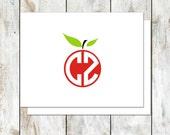Apple Teacher Circle Monogram Folded Stationery - Teacher Gift Stationery Set - Apple Note Cards - Apple Monogram Cards