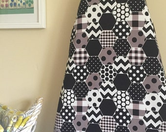 Ironing Board Cover - Black and White Hexi Print - Riley Blake